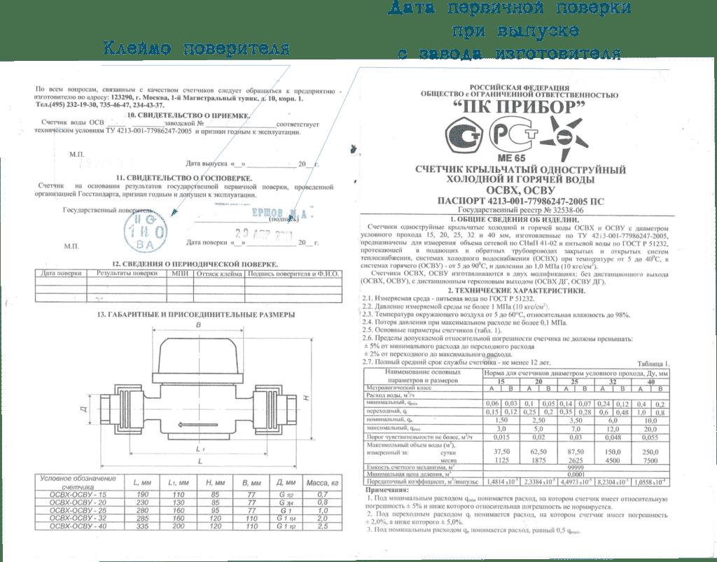 печатный паспорт водомера