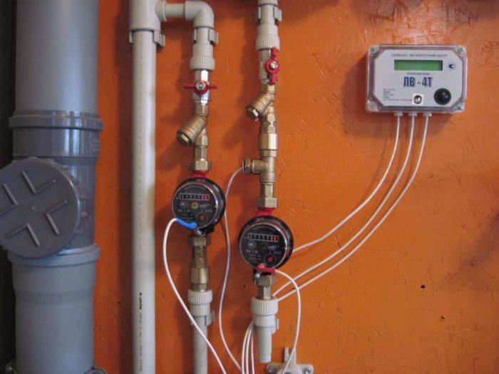 установка импульсного водомера